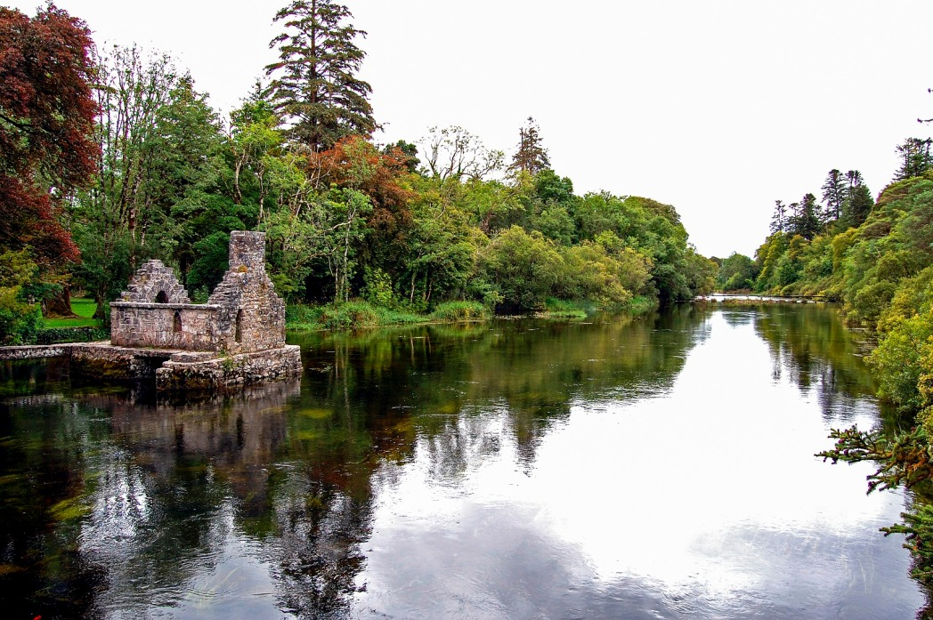 Ruin on the banks of a loch, Cong, Ireland