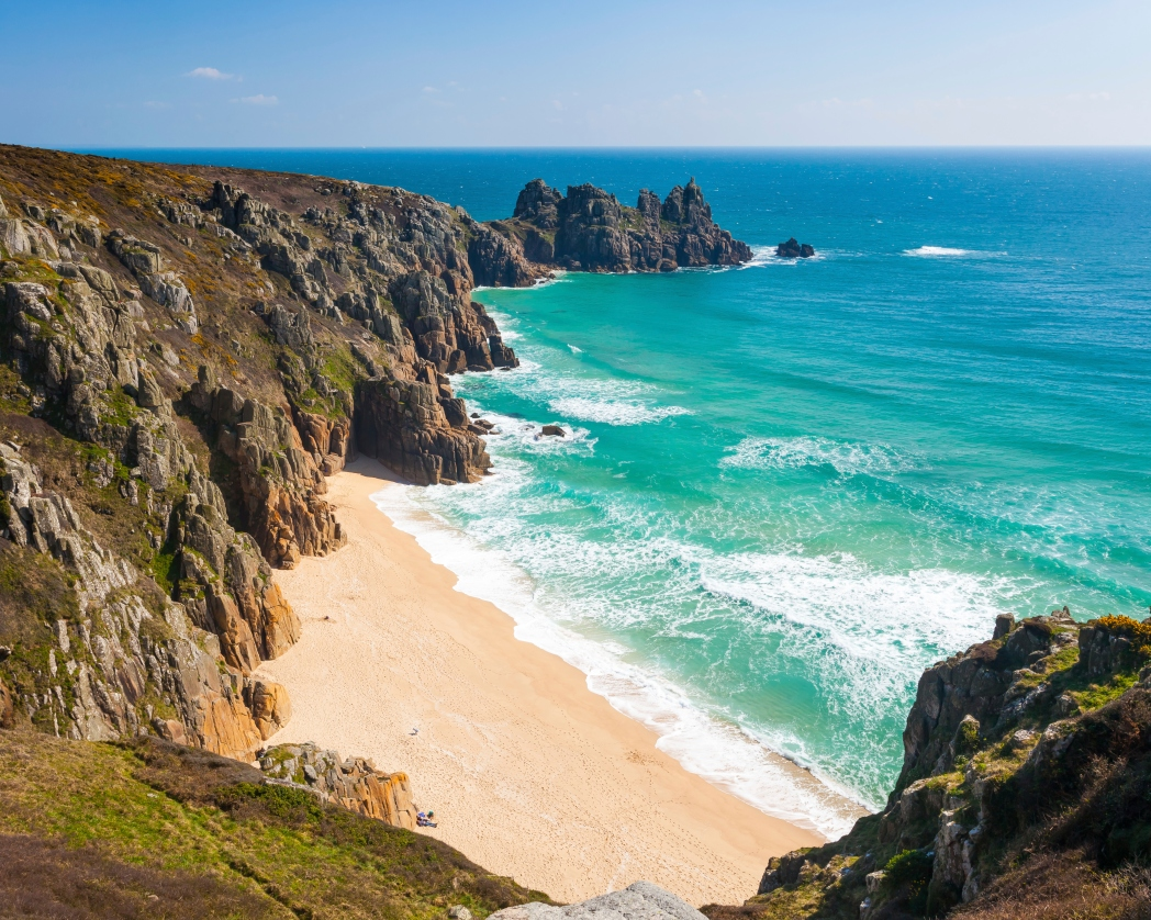 Visit Porthcurno Beach, Cornwall in spring 2019