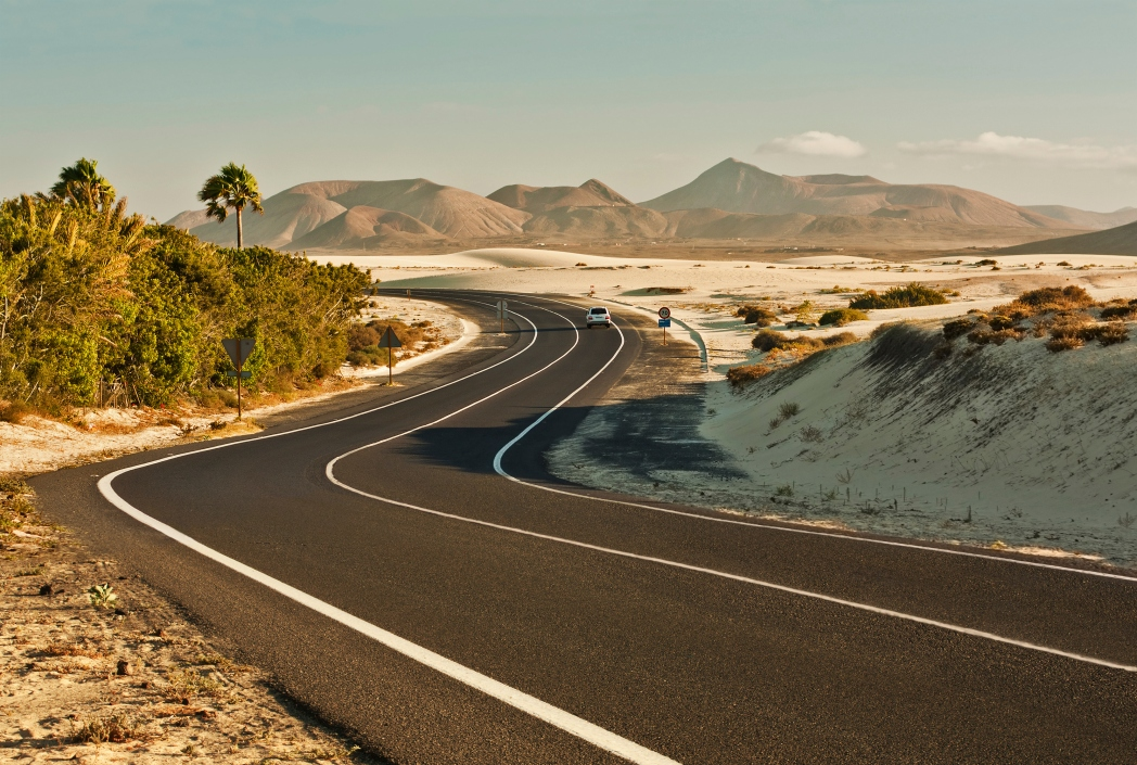 Dunes and green patches flank a road in Fuerteventura, Canary Islands