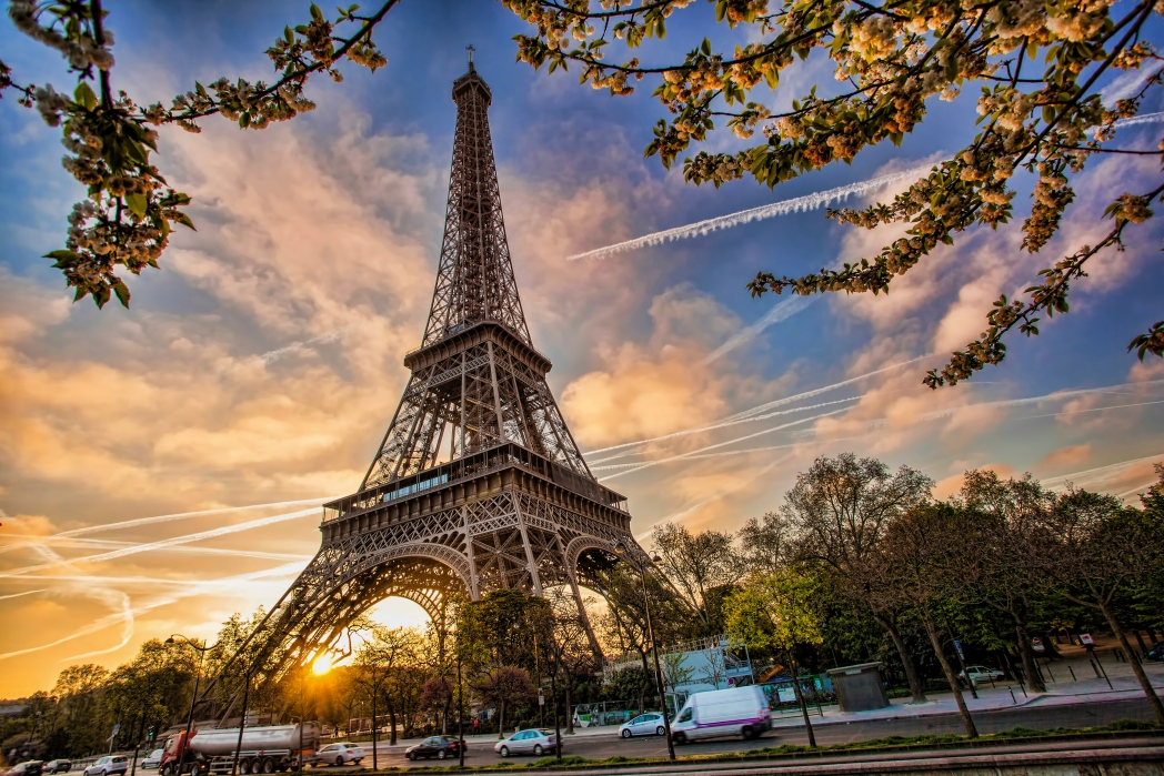 Eiffel Tower in Paris at sunset - a great destination when travelling with kids