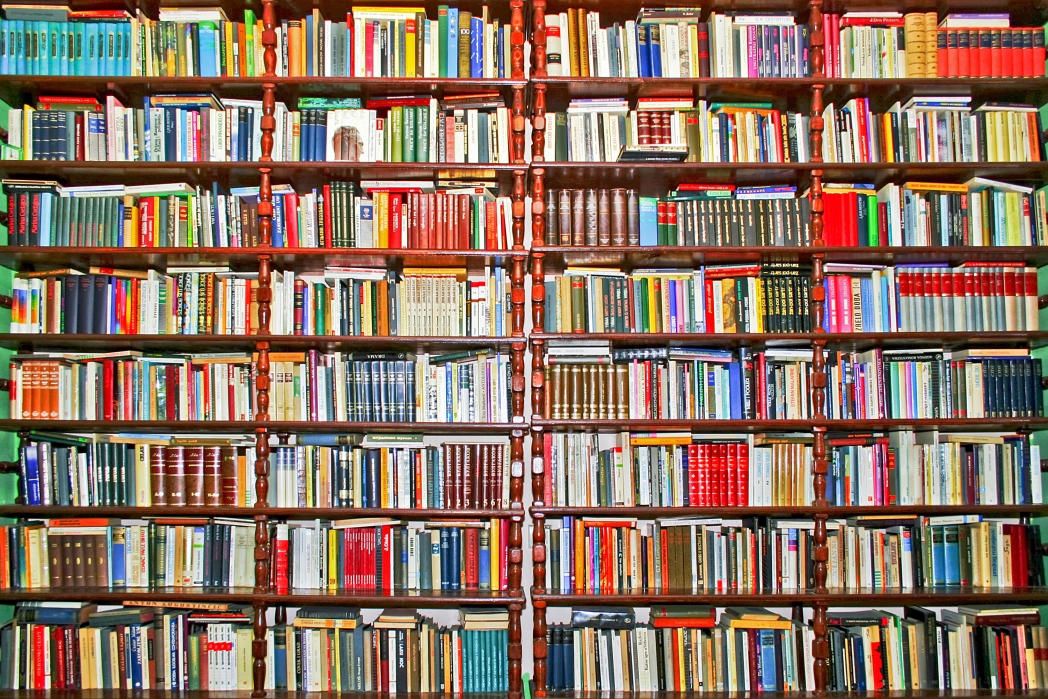 a wall of bookshelves covered in books of all colours