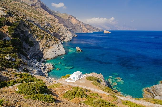 Amorgos, Greece, monastery on top of cliffs above the sea.