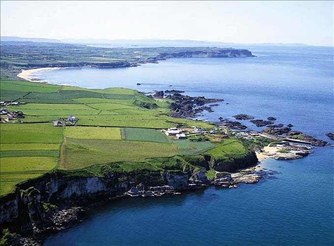 Panoramic view of Ballintoy Harbour, Northern Ireland