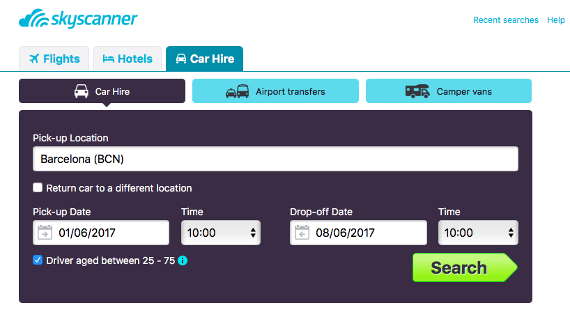 Skyscanner car hire search