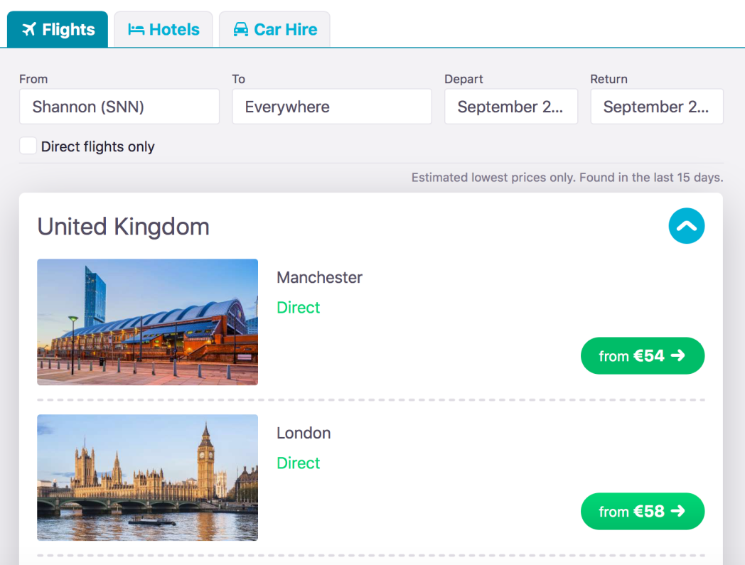 Find the best flight sale flights with the Everywhere Search