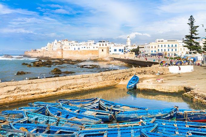 Traditional blue fishing boats in Essaouira, Morocco