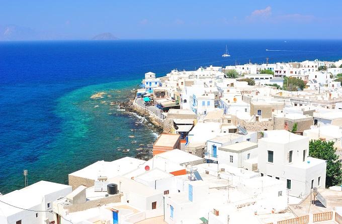 Kos Greece, white-washed buildings, blue sea.