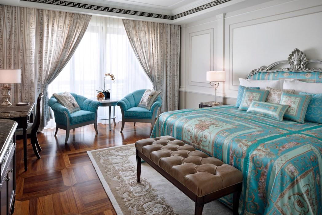 Premier Room with aquamarine bedding at Palazzo Versace