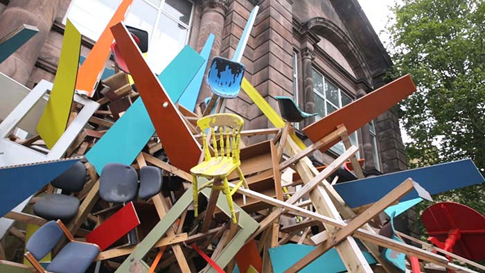 Art installations outside Summerhall.